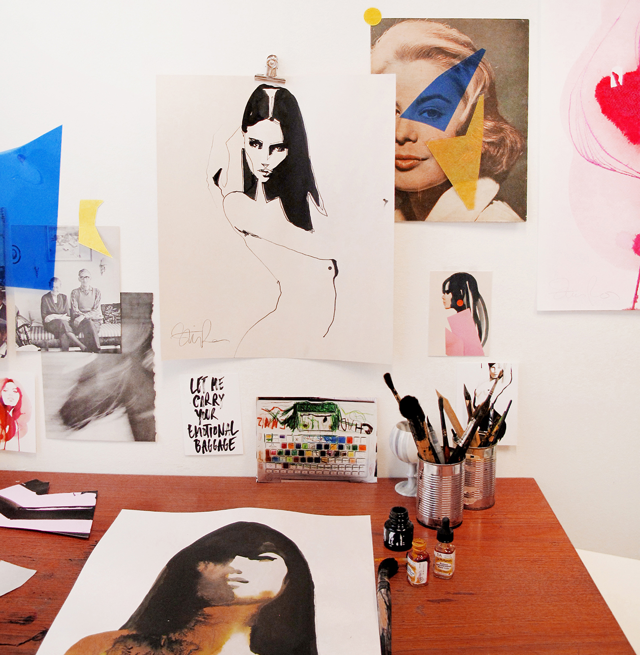 Studio Shot with Fashion Illustrator Stina Persson Artist Interview www.trialbyinspiration.com